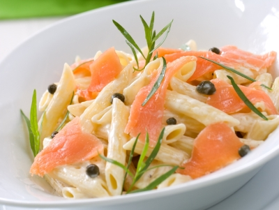 Smoked Salmon Penne with cappers, tarragon and cheese