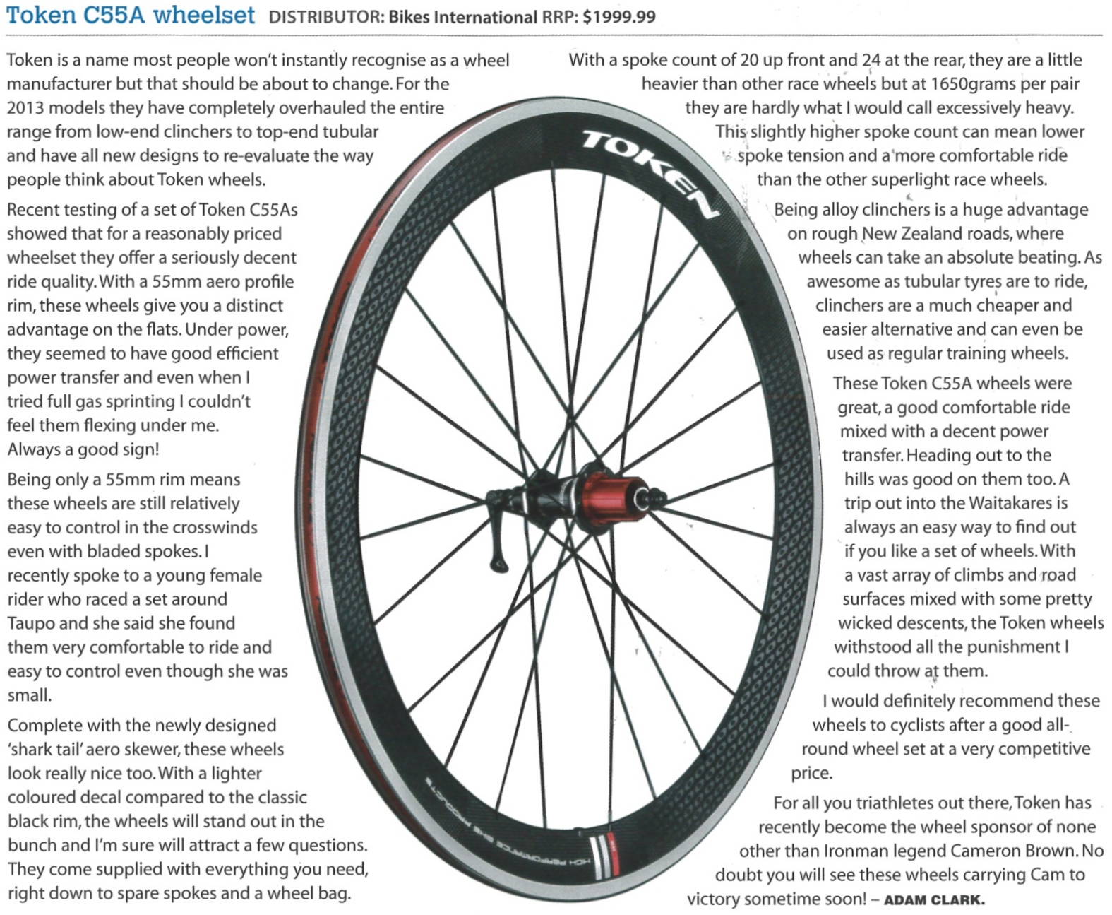 Review : C55A Wheelset (NZ Road Cyclist Magazine) | TOKEN